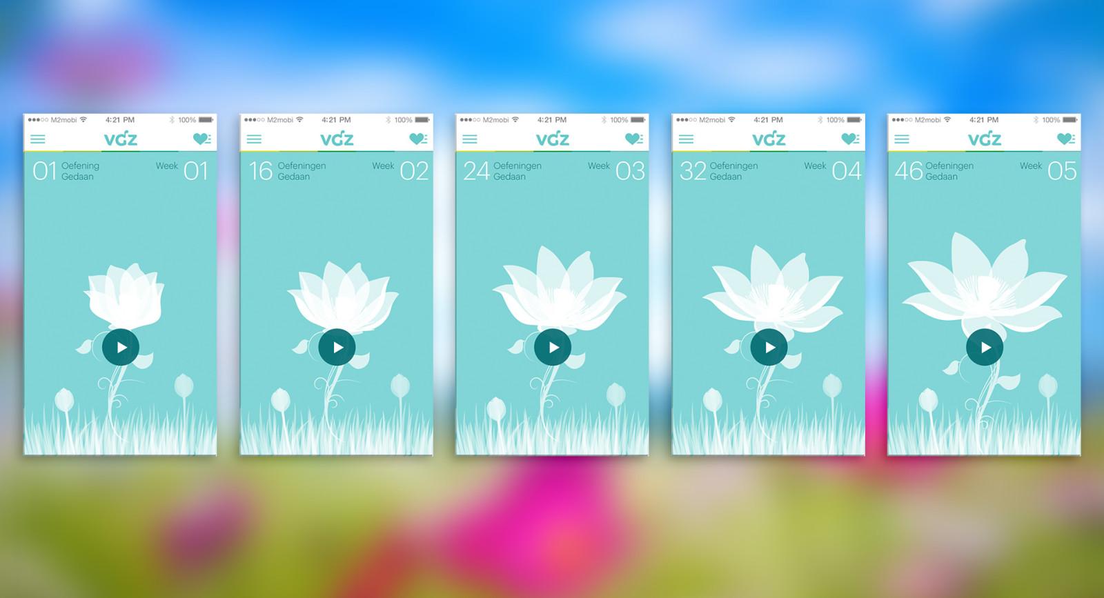 VGZ mindfulness coach - flower progress